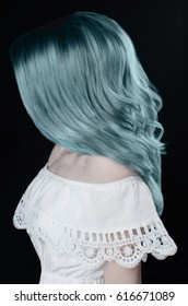 woman with blue hair. fashion portrait. colored hair beauty model