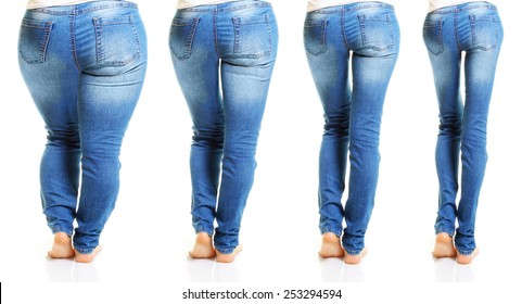 Woman in blue jeans isolated on white background from fat to thin. Diet concept.