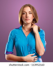Woman in blue looking on camera against different backgrounds