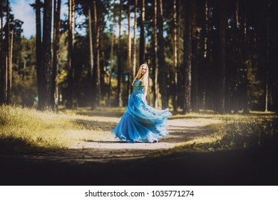 woman in blue magical dress in forest