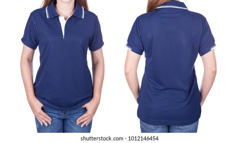 b40d510de870 woman in blue polo shirt isolated on a white background
