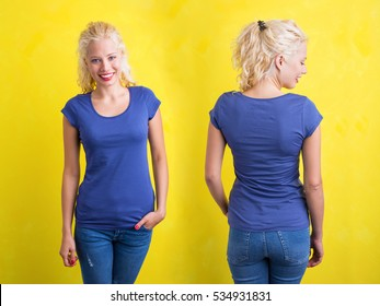 Woman in blue round neck T-shirt on yellow background