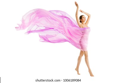 Woman Body Beauty, Model Dressed in Silk Pink Flying Fabric Fluttering on Wind, Young Girl Walking over White Background
