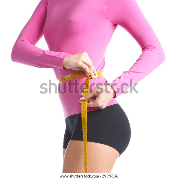 Woman body is being measured
