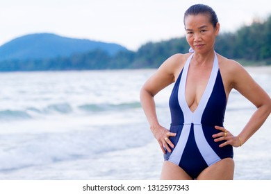 Woman body big show sexy at beach Ban Krut Beach, in Prachap Kirikhun Province Thailand is famous for trave