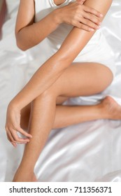 Woman Body Care, Close up of Legs skin.
