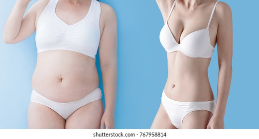 woman with body concept before and after on the blue background
