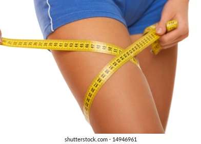 Woman body part is being measured