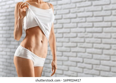 Woman body in a perfect slim form