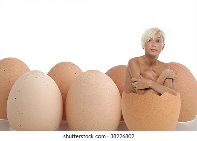 Woman born from an egg, the primary beauty, with white background isolate and more eggs beside.