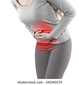 Woman with both palm around waistline to show pain and injury on belly area. Medical health care concept.