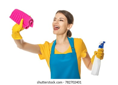 Woman with bottle of detergent and rag on white background