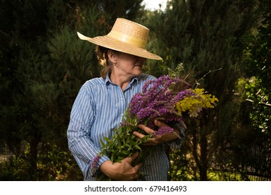 woman with  bouquet in hands