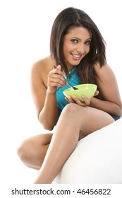 Woman with bowl of breakfast