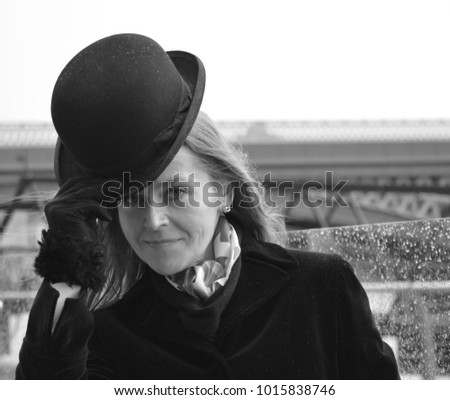 Woman Bowler Hat Stock Photo (Edit Now) 1015838746 - Shutterstock 1d308cf6bcd4