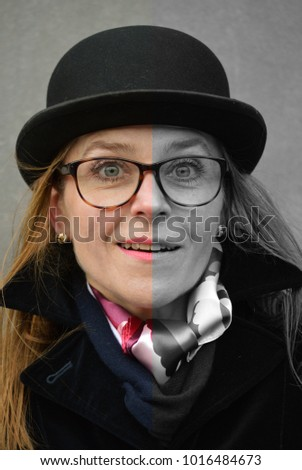 Woman Bowler Hat Stock Photo (Edit Now) 1016484673 - Shutterstock 3262db519673
