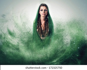 woman with braids in green dust