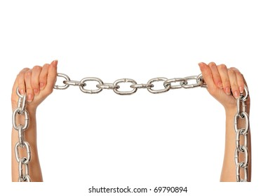 woman breaking the chain by hands for liberation as a symbol of captivity