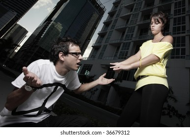 Woman breaking up with the man