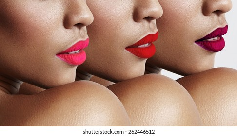 woman with a bright lips. red shadows