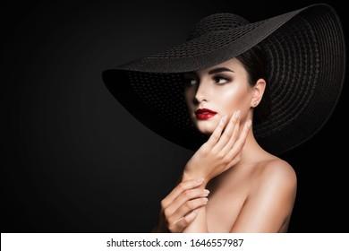 Woman in Broad Brim Hat, Fashion Model Beauty Portrait, Elegant Lady in Wide Brimmed Hat