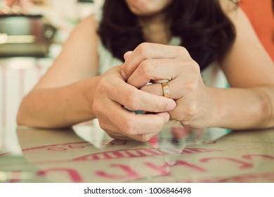 woman broken heart with ring. Feel sad . Woman unhappy