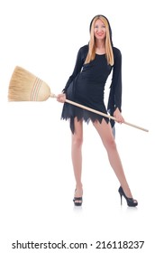 Woman with broom on white