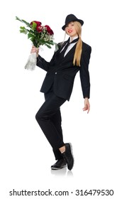 Woman with bunch of roses isolated on white