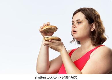 Woman burger, woman bad burger, woman considers burger