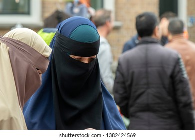 Woman With Burqa At Amsterdam The Netherlands 2019