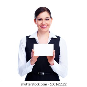 Woman with a business card. Isolated on white background.
