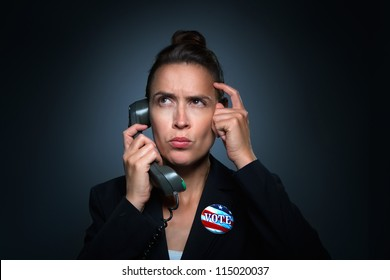 A woman in a business suit characterizing an unsure and confused voter