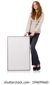 Woman businesswoman with blank board on white