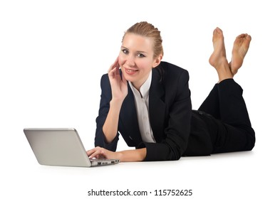 Woman businesswoman working on laptop