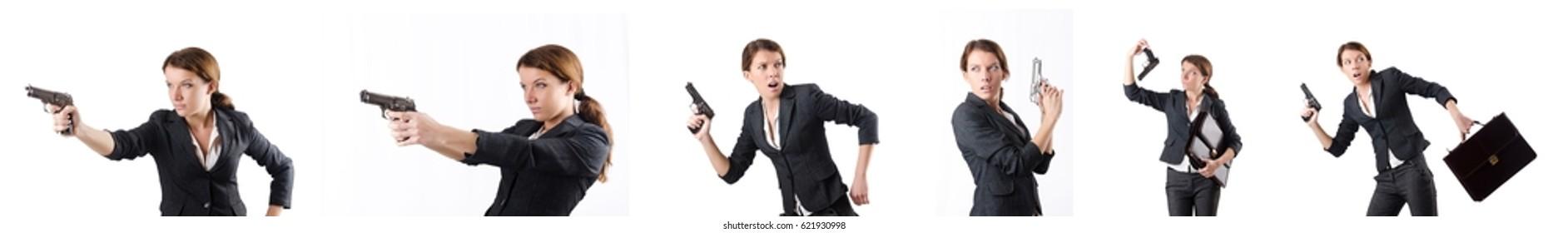 Woman businewoman with hand gun