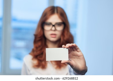 woman with bussines card
