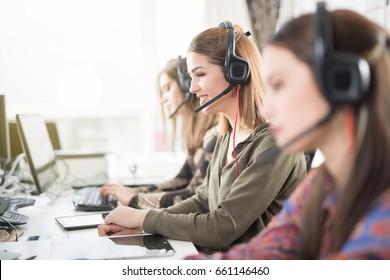 Woman at call center
