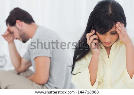 Woman calling during dispute with her boyfriend