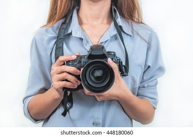 woman with camera isolated over white background