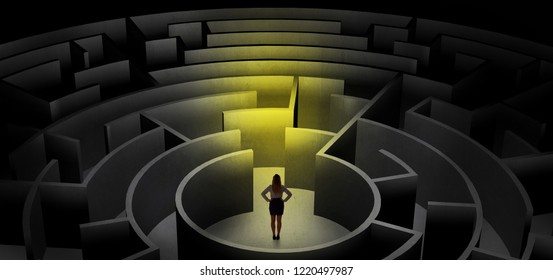 Woman can not decide which entrance to chose in a middle of a dark maze
