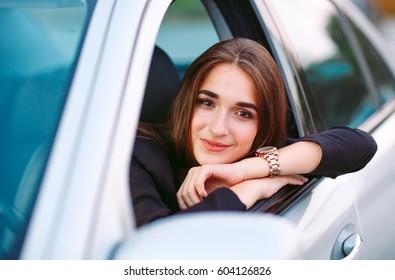 Woman in car