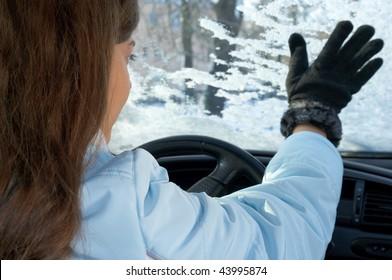 woman in car in winter
