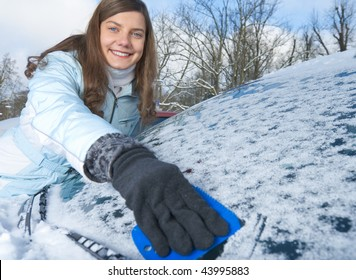 woman and car in winter