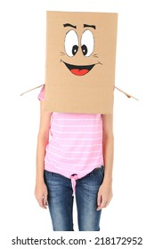 Woman with cardboard box on her head with happy face, isolated on white
