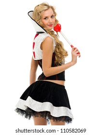Woman in carnival costume. Domino shape. Isolated image
