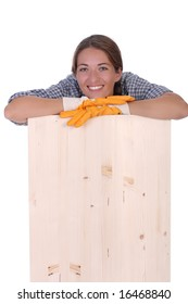 woman carpenter holding wooden plank on white background