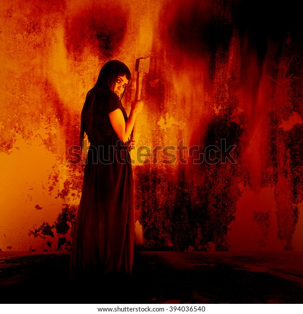 Woman Carry Axehorror Background Halloween Concept Stock