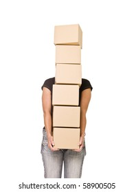 Woman carrying Cardboard Boxes isolated on white background