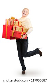 Woman carrying a lot of Christmas presents