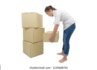 woman carrying and lifting boxes isolated on white background with clipping path. moving house concept